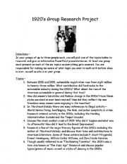 english worksheets the roaring 1920 s group research project. Black Bedroom Furniture Sets. Home Design Ideas
