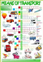 English Worksheet: Means of transport - crossword (B&W + KEY included)
