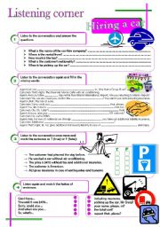 English Worksheets: Listening corner - Hiring a car (4 exercises**answer key**tapescripts)