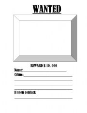 English Worksheet: Interviewing a character and wanted poster