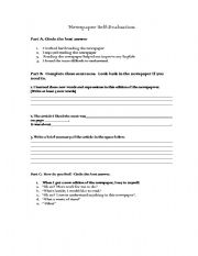 English teaching worksheets: Newspapers
