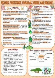 English Worksheet: HOMES: PROVERBS, PHRASAL VERBS, IDIOMS