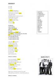 English Worksheets: misery by maroon 5