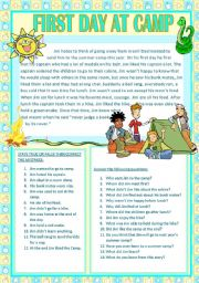 English Worksheets: FIRST DAY AT CAMP