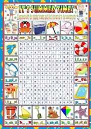 English Worksheet: IT�S SUMMER TIME-WORDSEARCH- KEY TO THE WORDS INCLUDED