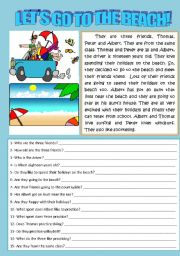 English Worksheet: LET�S GO TO THE BEACH (READING AND COMPREHENSION)