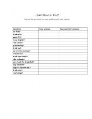 English Worksheets: Communicative worksheet for adverbs of frequency/time aderbs