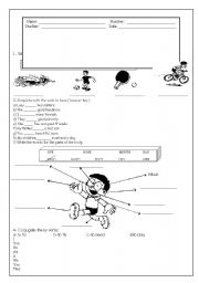 English Worksheet: test-sports and body parts