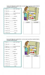 English Worksheet: LOOK AT THE FRIDGE