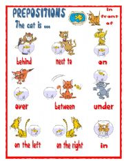 English Worksheet: PREPOSITIONS- The cat is ...