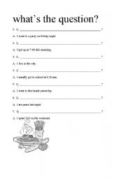 English Worksheets: What�s The Question
