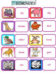 English Worksheets: farm animals dominoes