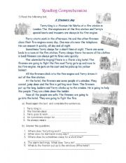 English Worksheets:  A Fireman´s day