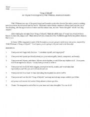 English Worksheet: Song of Myself: Poem Assignment