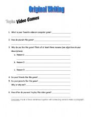 English Worksheet: Essay Writing Template - Video Games