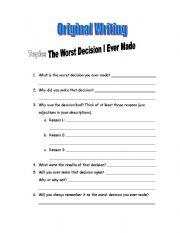 worksheet: Paragraph Writing Template