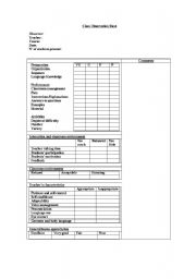 English Worksheets: class observation sheet