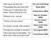English worksheet: 22 popular taglines from 22 popular movies