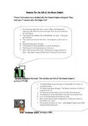 english worksheets reasons for fall of roman empire. Black Bedroom Furniture Sets. Home Design Ideas