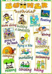English Worksheet: Summer activities - POSTER