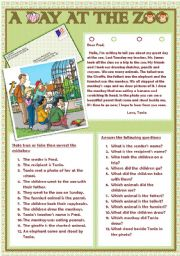 English Worksheet: A DAY AT THE ZOO.
