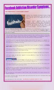 English Worksheet: FAD (Facebook Addiction Disorder)