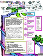 English Worksheets: The Candy Store and contractions