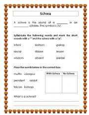 Schwa - ESL worksheet by mochi_87