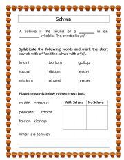 English Worksheets: Schwa