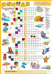 English Worksheet: Summer holidays - CROSSWORD  (B&W + KEY included)