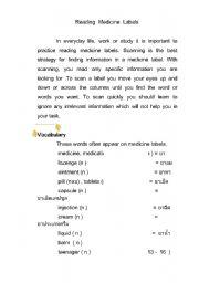 English Worksheet: reading medicine labels 1
