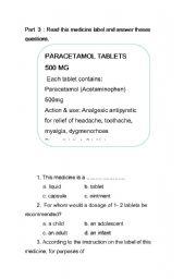 English Worksheet: reading medicine labels 2