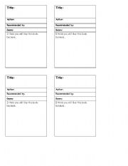 English Worksheets: Book recommendation