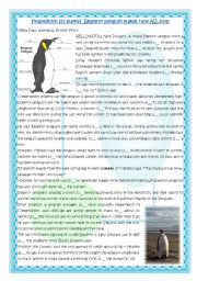 English Worksheet: Prepositions (23 marks): Emperor penguin makes rare New  Zealand stop