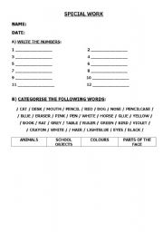 English Worksheets: Special work