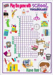 English Worksheet: play the game with school vocabulary - crossword puzzle