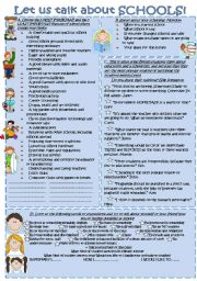 English Worksheet: LET US TALK ABOUT SCHOOLS!!! SPEAKING ACTIVITIES.