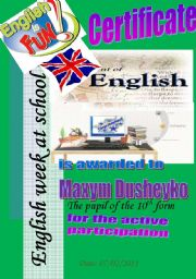 English Worksheet: Certificate. Active Participation.