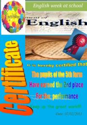 English Worksheets: Certificate. 2nd place