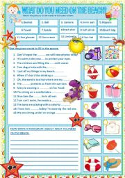 English Worksheet: WHAT DO YOU NEED ON THE BEACH