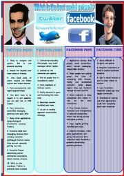 English Worksheet: Debate twitter vs facebook