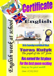 English Worksheet: Certificate. 1st place