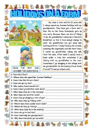 English Worksheet: HOLIDAYS ON A FARM (READING AND COMPREHENSION)