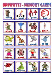 English Worksheet: Opposites � Memory cards � 20 cards (pictures + words) � B&W version � cut & glue exercise � 3 pages � editable