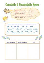 English Worksheets: Countable&Uncountable
