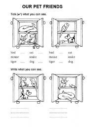 English Worksheets: animals - pet friends
