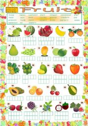 English Worksheet: Fruit Puzzle (key included)
