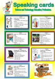 English Worksheet: Speaking Cards. Science and Technology, Education, Professions.