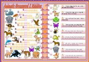 English Worksheet: Animals Crosswords & Riddles � teacher�s handout with keys � 2 pages � editable