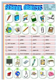 English Worksheet: SCHOOL OBJECTS MATCHING